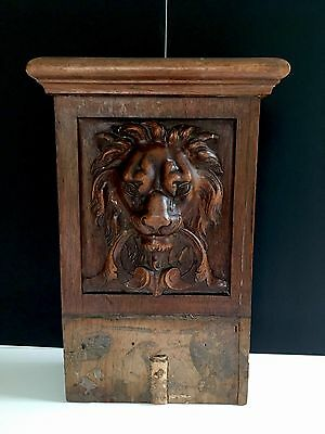 Antique Carved Wood Lion Head Wall Relief Plaque