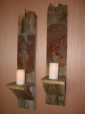 Large Wall Sconces w/ Rusted Metal for Light Reflection Reclaimed Oak Barn Wood