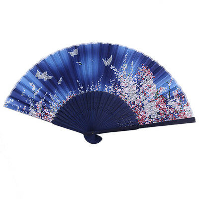 Chinese Japanese Folding Silk Blue Butterfly Hand Flower Bamboo Asian Pocket Fan