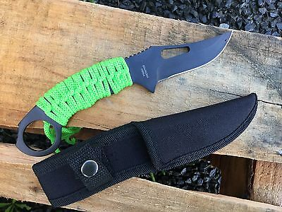 "8.25"" Zomb-War Hunting Knife Full Tang with Green Nylon Wrapped Handle 8142"