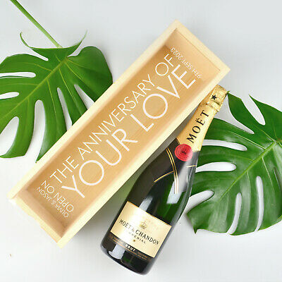 Engraved LIMITED EDITION Personalised Natural Wooden Wine & Champagne Gift Box