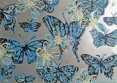 "Beautiful DAVID BROMLEY signed Screenprint ""Blue Butterflies"""
