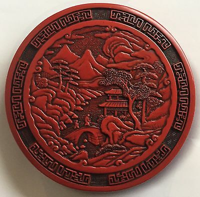 Antique Chinese /japanese Carved Cinnabar Lacquer Brass Circular Box And Cover