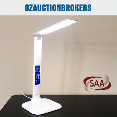 Touch Control LED Desk Lamp Light Dimmable Multifunction 4W w/ Digital Clock AU