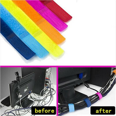 10Pcs Bobbin Cable Winder Wire Organizer Management Magic Tape Ties Cord Straps