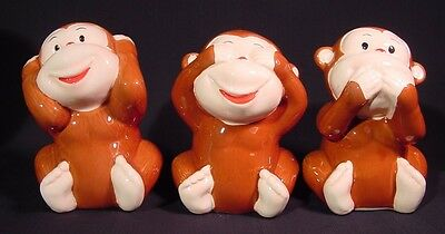 Hear See Speak No Evil Wise Monkeys Trio Ceramic Too Cute & Adorable