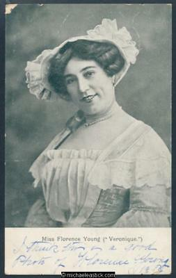 Glamour black & white postcard of Miss Florence Young in Veronique.