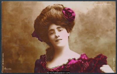 Glamour coloured postcard of Florence Warde, Edwardian actress and dancer