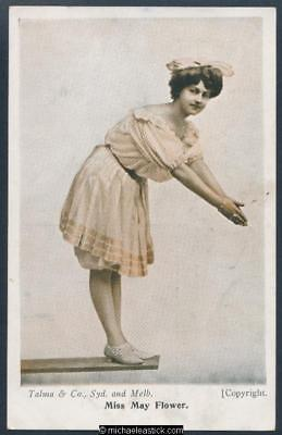 Glamour coloured postcard of Miss May Flower, Edwardian showgirl