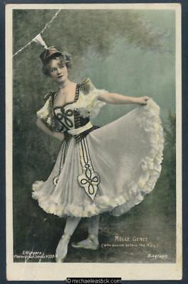 Glamour coloured postcard of Miss Genee (who danced before the King) 1878 - 1970