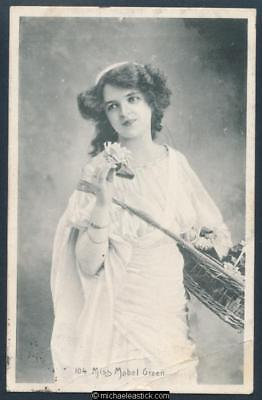Glamour black and white postcard of Miss Mabel Green 1890 - 1970