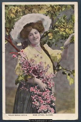 Glamour coloured postcard of Miss Ethel Oliver 1882 approx - 1946