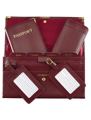 Leather Travel Wallet Organiser Document Set Burgandy - Brand New