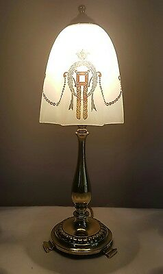 Antique C1920 Edwardian Small Brass Table Lamp. Fully Rewired & PAT Tested