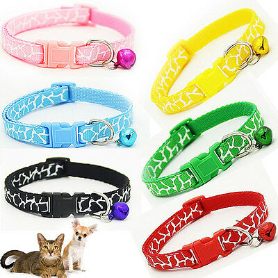 Pet Kitten Cat Dog Puppy Adjustable Neck Collar Strap Buckle with Safety Bell