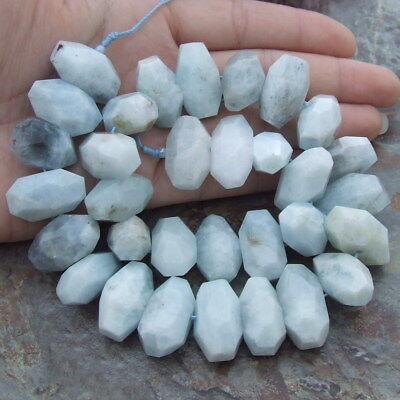 "8SE11007 Natural 13x23mm Aquamarine Faceted Nugget Gemstone Beads 15.5"" Strands"