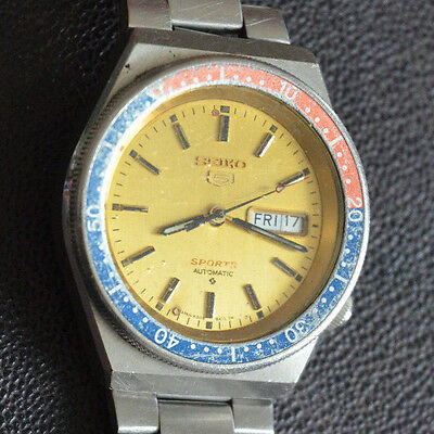 seiko Pepsi automatic gold face 6309-8368