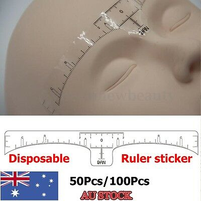 50/100X Disposable Eyebrow Tattoo Grooming Ruler Stickers Stencil Measure Shaper