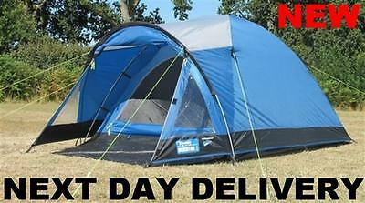 New 2017 Kampa Brighton 3 Person Man Family Festival lightweight Dome Tent Large