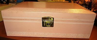 Vintage 1960 MELE 2 Tier Jewelry Box Chest Pink Faux Leather Velveteen Hooks