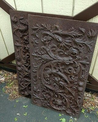 Pair Victorian Cast Iron Architectural Panels with Dragon