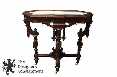 Antique 19th Century Victorian Eastlake Carved Walnut Parlor Table W/ Marble Top