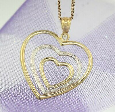 HEARTS PENDANT LOVE WITHIN YOUR HEART - Genuine 9k WHITE & YELLOW GOLD