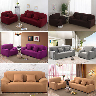 Stretch Sofa 1 2 Seater Protector Washable Couch Pillow Cover Slipcover L Shape