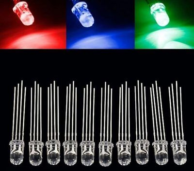 10 x 5mm RGB Common Anode 4 Pin Water Clear LED Rainbow