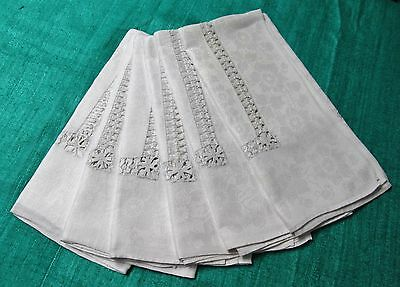 Antique Linen Damask 6 Napkins Ornate Hand Drawn Bands Anemone Florals