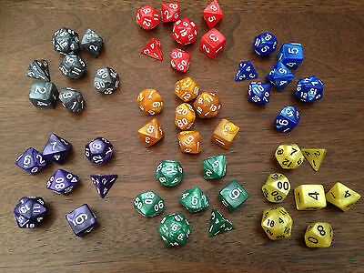 Polyhedral Dice 6 x 7 Die Complete set of D4 D6 D8 D10 D12 D20 Perfect for Dunge