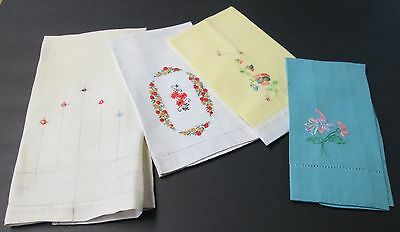 Lot of 4 Embroidered Towels Pretty Pastels