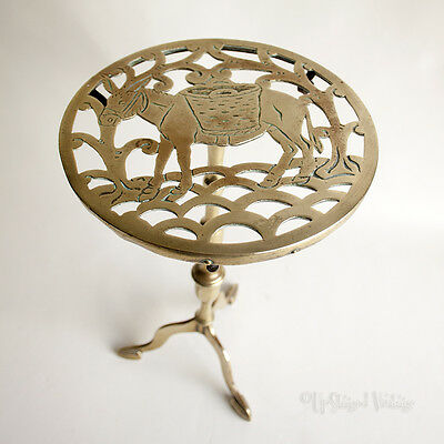 Vintage Rustic Tall Brass DONKEY Trivet Fireside Teapot Kettle Stand FREE UK P&P
