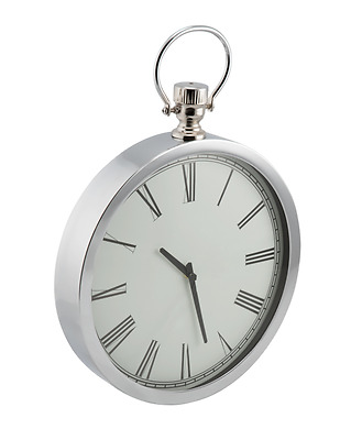 Antique Style Silver Metal Pocket Watch Wall Clock with Roman Numerals 53cm