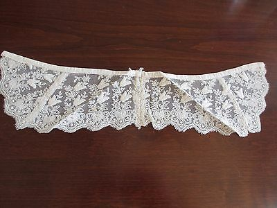 Antique Embroidered Net Lace Collar Dora Dwelley Estate Fancy Ornate 19th C