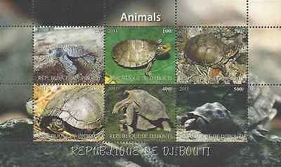 Timbres Reptiles Tortues Djibouti ** année 2011 lot 20427