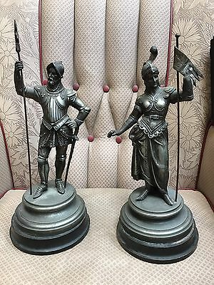Pair Of Antique Metal Figures. Open To Offers.