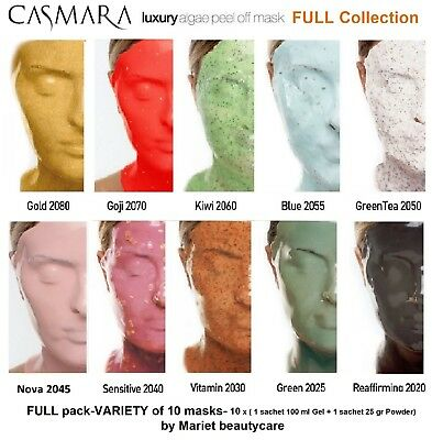 CASMARA 10 facial masks FULL COLLECTION-VARIETY of 10 luxury peel off masks