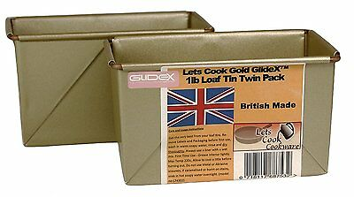 Lets Cook 1LB Traditional Farmhouse Loaf Tins Twinpack Box Style UK Made Gold