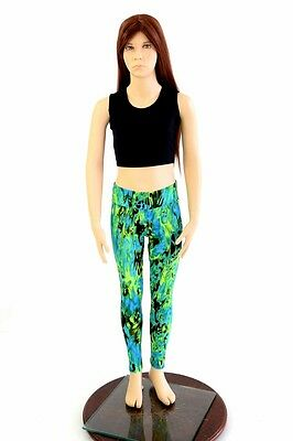 Kids 10 Blue/Green Magma Cozy Stretchy Spandex High Waist Leggings Ready to Ship