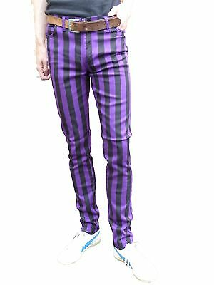 Mens Drainpipes Purple Black stripe trousers skinny jeans vtg indie mod hipsters