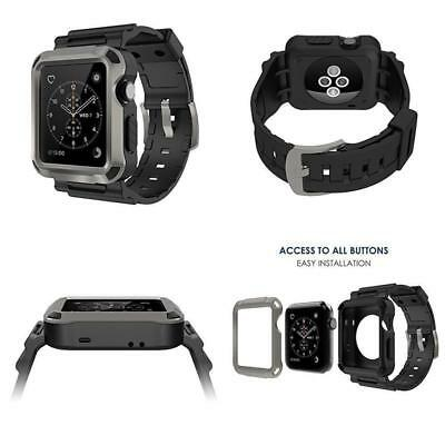Apple Watch Case Rugged Protective with Black Strap Bands 42mm Gray Series 1 S2