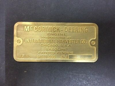 NEW McCormick Deering IHC 1-1/2 M Etched Brass Tag Antique Gas Engine Hit Miss