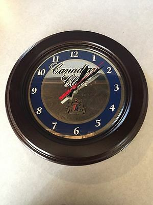 *RARE* Canadian Club Whisky Round Wood Framed Mirror Wall Clock~*NEW*