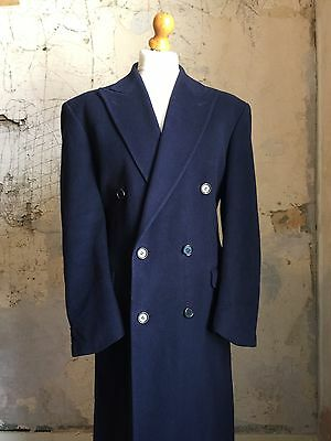 Vintage Double Breasted cashmere overcoat navy blue size 42 44 Long