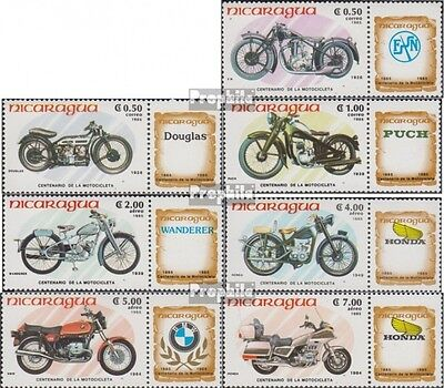 Nicaragua 2568-2574 unmounted mint / never hinged 1985 100 years Motorcycles