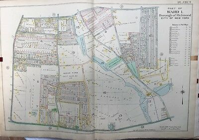 Orig 1907 E. Robinson Richmond, Staten Island, Ny St. Peter's Cemetery Atlas Map