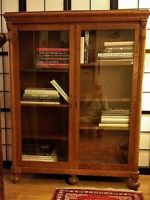 "Antique Oak ""Lions' Heads"" Bookcase in Excellent Condition. New Price: Must Sell"