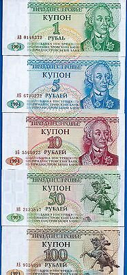 Transnistria  P-16 P-17 P-18 P-19 P-20 Uncirculated Set # 1 FREE SHIPPING