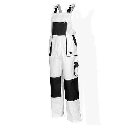Bib and Brace Overalls Painters Decorators Work Trousers Pants Cotton White UK